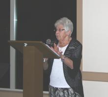 Joanetter Goddard telling jokes.